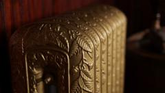Historic Antique Parlor with Gold Gilt Radiator Stock Footage