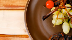 Meat ribs on dish Stock Footage