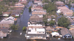 Flood Rescue City Street Helicopter Stock Footage