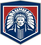 native american chief shield retro - stock illustration