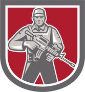 Soldier serviceman with assault rifle shield Stock Illustration