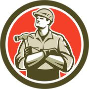 Builder carpenter arms crossed hammer circle retro Piirros