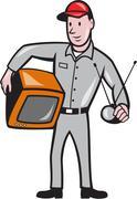 tv repairman technician cartoon - stock illustration