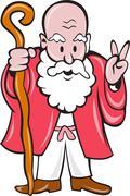 Bearded old man staff peace sign cartoon Stock Illustration