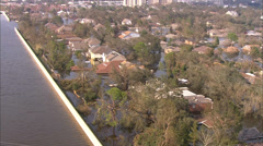 Flood Aerial Helicopter City Stock Footage