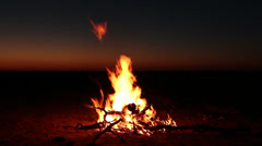 Outdoor wood campfire against a sunset, South Africa Stock Footage