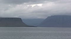 Cloudy wide fjord landscape Stock Footage
