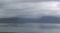 Cloudy cold looking fjord Stock Footage