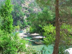 arbour near water pools in national park turkey - stock photo