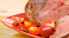 Barbecue on red dish Stock Footage