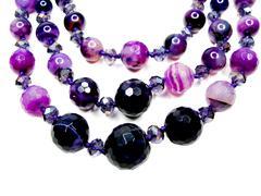 Amethyst semiprecious beads Stock Photos