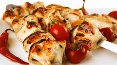 Roasted chicken kebab on white Stock Footage