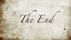 'The End' , title to end movie, classic, ornate style on paper Stock Footage