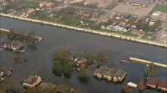 Broken Levee Flooding New Orleans Stock Footage