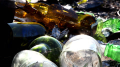 Broken bottles from the garbage Stock Footage