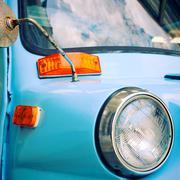 Nakhon pathom, thailand - august 28 : blue vintage car in exhibition of old c Stock Photos