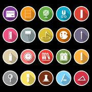 general stationary icons with long shadow - stock illustration
