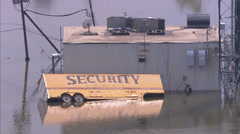 Rescue Flood Helicopter City Stock Footage