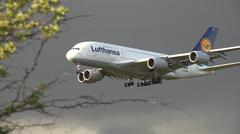 LH-A-380 - Approach (Frankfurt, Germany) Stock Photos