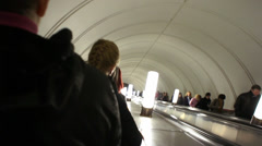 Moscow Metro Subway Going Down 002 Stock Footage