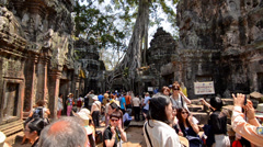 Siem Reap, Cambodia, February 2014. Unidentified tourists in Angkor Wat Temple Stock Footage