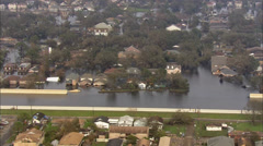 Flood Water Rescue Aid Helicopter Hurricane Barricade Stock Footage