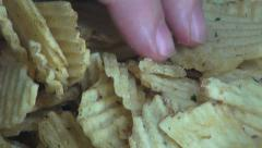 Stock Video Footage of Ridged Potato Chips, Ruffles, Snack Foods
