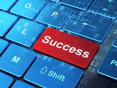 Stock Illustration of Finance concept: Success on computer keyboard background