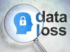 Data concept: Head With Padlock and Data Loss with optical glass - stock illustration