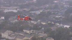 Flood Water Buildings Rescue Helicopter Stock Footage