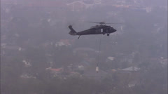 Flood Water Buildings Rescue Helicopter Rooftop Stock Footage