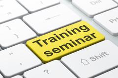 Education concept: Training Seminar on computer keyboard backgro - stock illustration