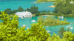 Boat Filled Tropical Waterways Between Islands in Bermuda - stock footage