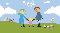happy family spending time outdoors. - stock illustration
