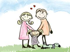 A happy family, cartoon illustration  no gradients. Stock Illustration