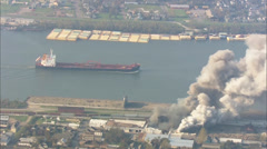 Ship Harbor Fire New Orleans Stock Footage