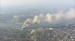 Harbor Fire Hurricane Katrina Stock Footage