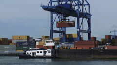 Waalhaven Container Terminal for deep sea and barge containers + zoom out Stock Footage