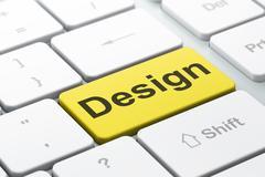 Advertising concept: Design on computer keyboard background Stock Illustration