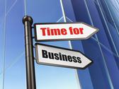 Stock Illustration of Time concept: Time for Business on Building background
