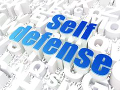 Protection concept: Self Defense on alphabet background - stock illustration