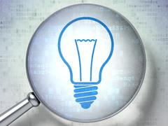Finance concept: Light Bulb with optical glass on digital backg Stock Illustration