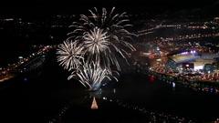 Pittsburgh Aerials Fireworks Ppg Highmark Heinz Field Slomo Stock Footage