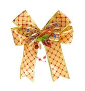 gold gift ribbon and bow on white background with clipping path - stock photo