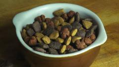 Bowl of Dog Food, Biscuits, Treats, Pets - stock footage