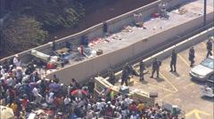 Evacuation Relief Effort Superdome - stock footage