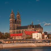 magnificent cathedral of magdeburg at river elbe, germany - stock photo