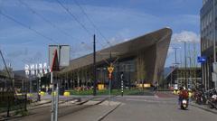 Rotterdam Centraal, CS railway station + scooter, traffic Stock Footage