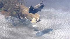 Relief Chopper Broken Levee - stock footage