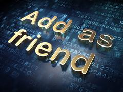 Stock Illustration of Social network concept: Golden Add as Friend on digital backgrou